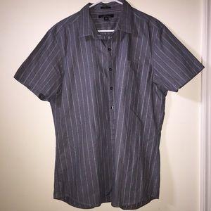 Grey Pinstriped Collared Shirt